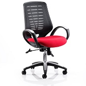 Office Chair Olympic One Red Seat Black Mesh Back