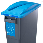 Office Recycling Bin Blue Slot Top Lid  For Paper Ecco