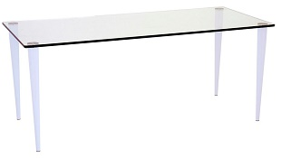 Glass Desk Jersey 1120 x 500 White Legs Clear Glass