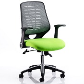 Office Chair Olympic Two Green Seat Silver Mesh Back