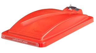 Office Recycling Bin Lid Red With Security Toggle Ecco