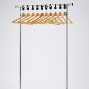 Coat Rail Chrome Style With Wooden Hangers