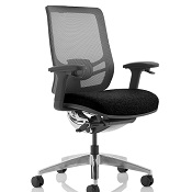 Ergonomic Chair  Tick Black Fabric Seat And Mesh Back