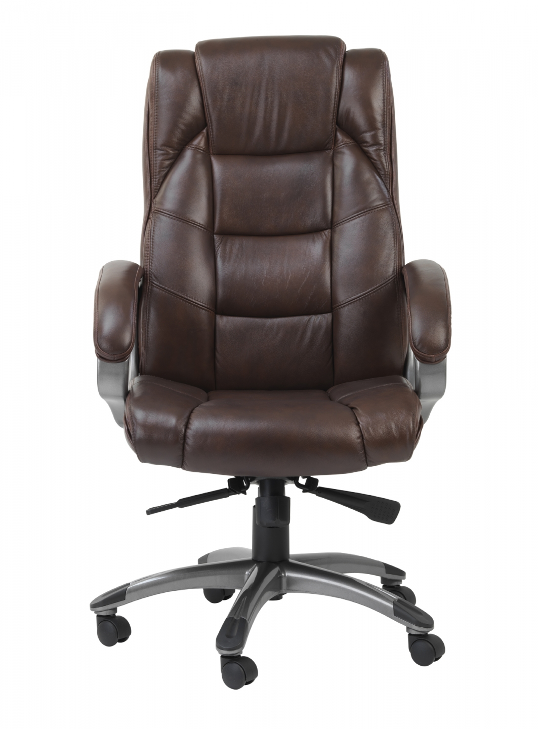 Brown Leather Office Chairs With Design Arms