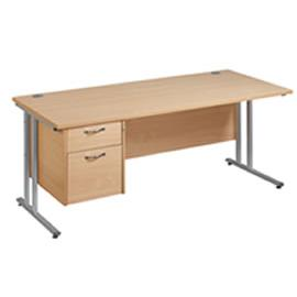 Office Straight Desk 1800 Cantilever Frame With 2 Drawer Pedestal Work 25