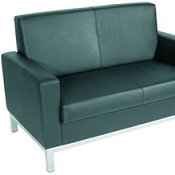 Leather Faced 2 Seater Sofa Front