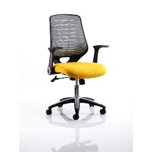 Office Chair Olympic Two Yellow Seat Silver Mesh Back