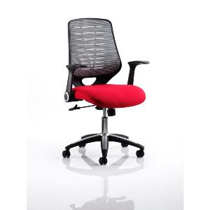 Office Chair Olympic Two Red Seat Silver Mesh Back
