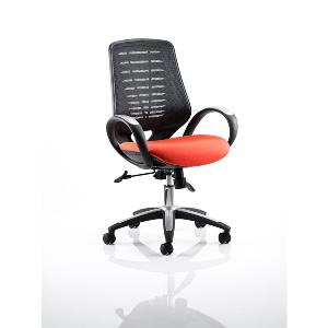 Office Chair Olympic One Orange Seat Black Mesh Back