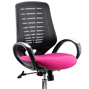 Office Chair Olympic One Pink Seat Black Mesh Back