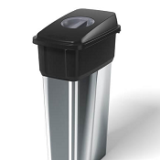 Office Recycling Bins Era Black With Grey Grab Lid