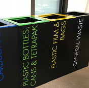 Office Recycling Bin Separate Black With Lettering 100 litre Coloured Tops