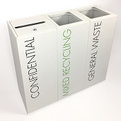 Office Recycling Bin Separate Confidential  With Lettering 50 litre