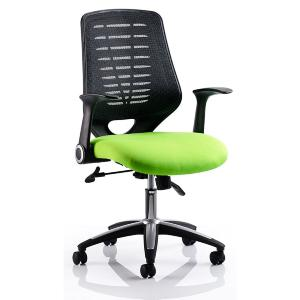 Office Chair Olympic Two Green Seat Black Mesh Back
