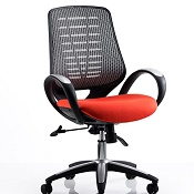 Office Chair Olympic One Orange Seat Silver Mesh Back