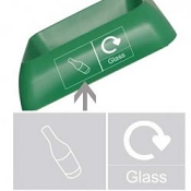 Office Recycling Bin Q Graphic Glass
