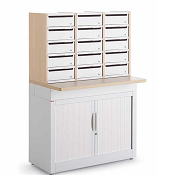 Pigeon Holes Style Mailroom Tambour Cupboard With 15 Steel Lockable Door Pigeon Holes
