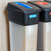 Office Recycling Bins Era Black With Blue Slot Cutout