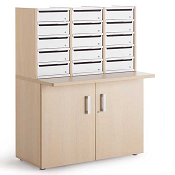 Pigeon Holes Style Mailroom Wood Cupboard With 15 Steel Lockable Door Pigeon Holes