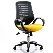 Office Chair Olympic One Yellow Seat Black Mesh Back