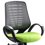 Office Chair Olympic One Green Seat Silver Mesh Back