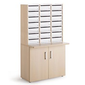 Pigeon Holes Style Mailroom Wood Cupboard With 21 Steel Lockable Door Pigeon Holes