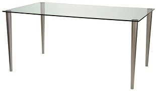 Glass Desk Jersey 1120 x 500 Matt Nickel Legs Clear Glass