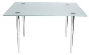 Glass Desk Jersey 1500 x 900 Bright Chrome Legs Frosted Glass