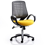 Office Chair Olympic One Yellow Seat Silver Mesh Back