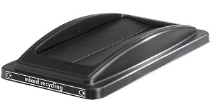 Office Recycling Bin Black Swing Lid  For Mixed Recycling Ecco