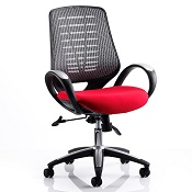 Office Chair Olympic One Red Seat Silver Mesh Back