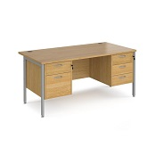 Office Straight Desk 1600 H Leg With 1 x 3 And 1 x 2 Drawer Pedestal Work 25