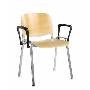 Conference / Meeting Chair Aquarius Beech Seat Chrome Frame And With  Arms