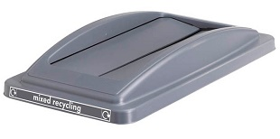 Office Recycling Bin Grey Swing Lid  For Mixed Recycling Ecco
