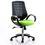 Office Chair Olympic One Green Seat Black Mesh Back