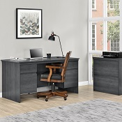 Executive Home Office Desk Memphis Weathered Oak
