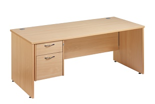 System Office Straight Desk 1600 With 2 Drawer Pedestal Work 25