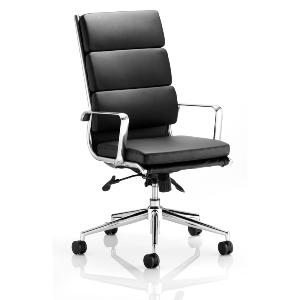 Office Chair Streamline High Back Black Leather