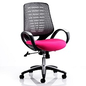 Office Chair Olympic One Pink Seat Silver Mesh Back