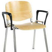 Conference / Meeting Chair Aquarius Beech Seat Chrome Frame And With  Arms Box Of 4