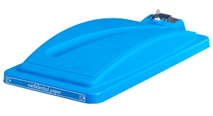 Office Recycling Bin Lid Blue With Security Toggle Ecco